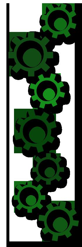 Bild på gröna kugghjul.
